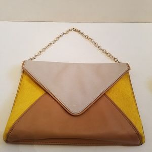 Banana Republic Leather Envelope Clutch Gold Purse